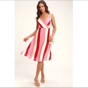 Lulu's Vivacious Veronica Pink MultiStriped Dress